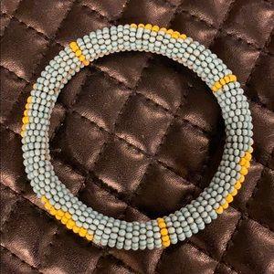 Vintage Native Tribal Seed Bead Leather Bracelet